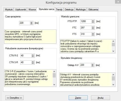 Ekran 4. Konfiguracja analizatora stymulatorów.